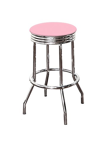 The Furniture Cove 1-29' Tall Chrome Finish Retro/Soda Fountain Style Swivel Seat Bar Stool Featuring Your Favorite Colored Vinyl Seat Cushion (Baby Pink)
