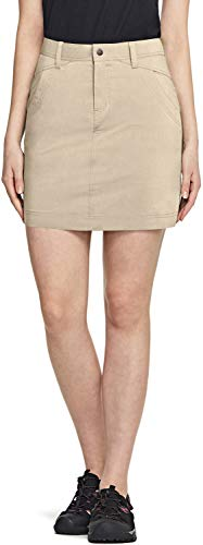 CQR Women's Outdoor Skort, UPF 50+ Active Athletic Casual Skirt with Shorts, Hiking Golf Travel Casual Skort with Pockets, Driflex Skorts(wxk435) - Khaki, Small