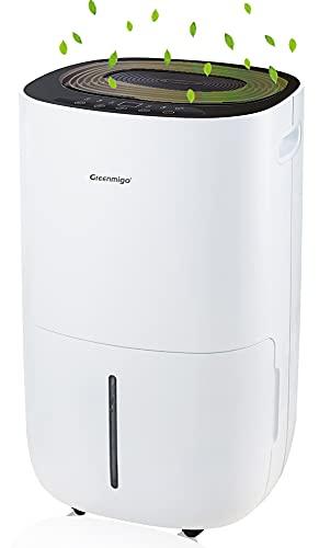 Greenmigo Deshumidificador Eléctrico Portátil 20L/24h con Refrigerante R290,Deshumidificación Continua y Silenciosa,Automático hasta 60m2 para Hogar Dormitorio Cocina Armarios Garaje