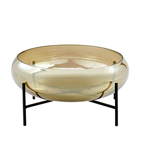 Pureday Dekoschale mit Ständer - Glasschale - Glas Metall - Gold Schwarz - ca. Ø 34 cm