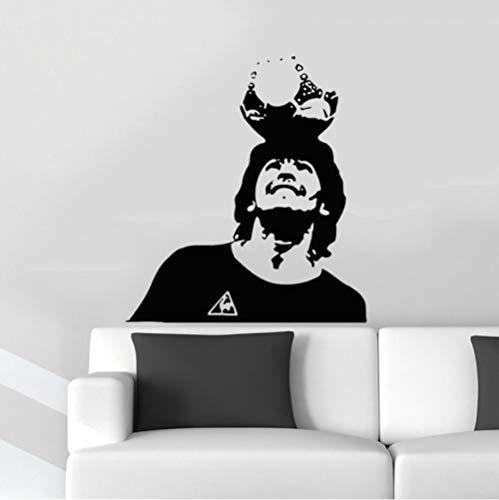 Olivialulu Tatuajes de pared Superestrella de fútbol Maradona Vinilo Etiqueta de la pared Kids Room Poster Futbolista Desmontable Decoración para el hogar A459 Tamaño Color Puede ser personalizado