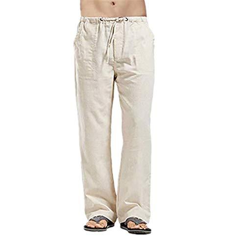 iHHAPY Casual Trousers Mens Breathable Cotton and Linen Pants Simple Pocket Sport Work Plus Size Pure Color Long Pants Khaki