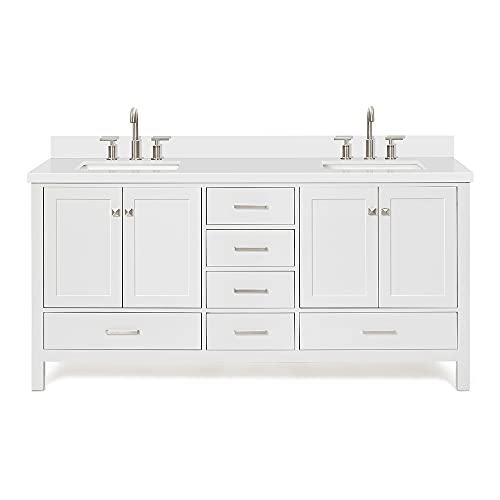 ARIEL 73' Inch White Double Vanity with Pure White Quartz Countertop   Rectangle Sinks   4 Soft Closing Doors and 6 Full Extension Dovetail Drawers   No Mirror
