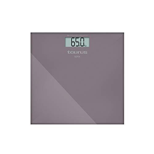 Taurus Sofia Báscula de baño digital, diseño slim, 28 x 28 x 2 cm, resistente, kg/lb, pantalla grande, fácil lectura, máximo 180 kg/mínimo 3 kg, color violeta metálico