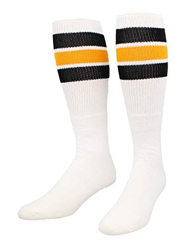 TCK Retro 3 Stripe Tube Socks (Black/Gold, Large)
