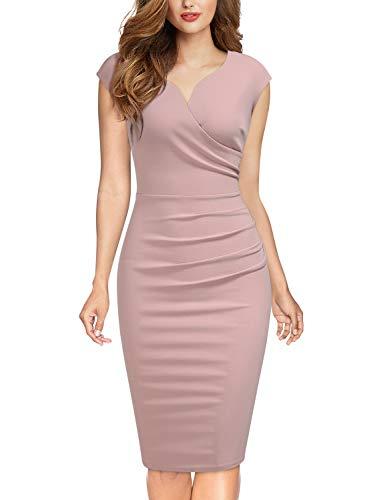 Miusol Lápiz Plisado Cuello en V Fiesta Vestido para Mujer Rosa M