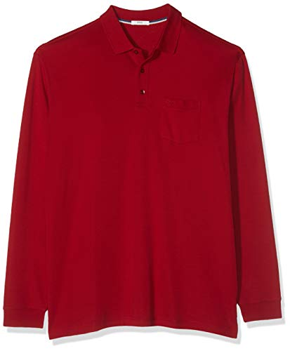 BRAX Herren Style Philip Pima Cotton Interlock Polo Casual Langarmshirt, Crimson, Large (Herstellergröße: L)