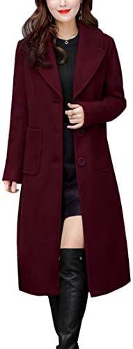 chouyatou Women s Big Notch Lapel Single Breasted Mid Long Wool Blend Coat Medium Wine Red product image