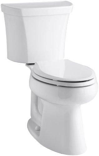 Kohler K-3979-RA-0 Highline Comfort Height 1.6 gpf Toilet Right-Hand Trip Lever, White, Less Seat