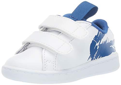 Lacoste Carnaby EVO Tenis para niños, Blanco/Azul, 10. Medium US Toddler