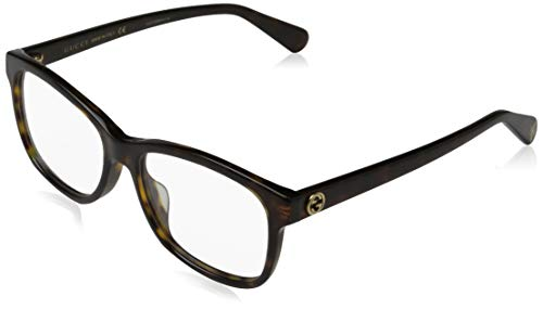 Gucci Unisex – Erwachsene GG0374O-002-55 Brillengestell, Dunkel Havana, 55