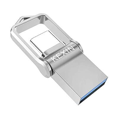 KEXIN 64GB Type C USB Flash Drive Mini USB3.0 Dual USB Memory Stick OTG High Speed Waterproof USB C Stick USB Drive Memory Stick for Type-C Smart Phone, Tablet, PC, Car, TV and More Silver