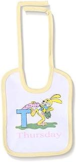 Jocky Rabbit-Print Neck-Tie Rectangular Baby Bib - White and Yellow