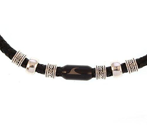 WAVEPIRATE® Echt Leder-Halskette Charm F Schwarz/SW 48 cm Edelstahl-Verschluss in Geschenk-Box Surfer Herren Männer