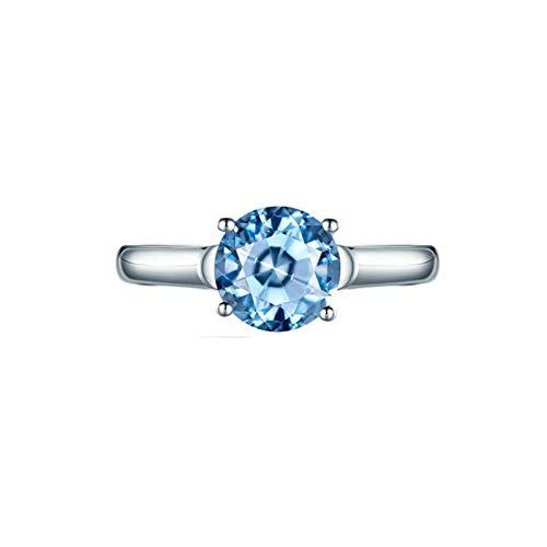 Ubestlove Women Rings White Gold Aquamarine Crystal Ring Inlaid 1.43Ct Topaz Ring Gold Women 18K 1.43Ct T 1/2