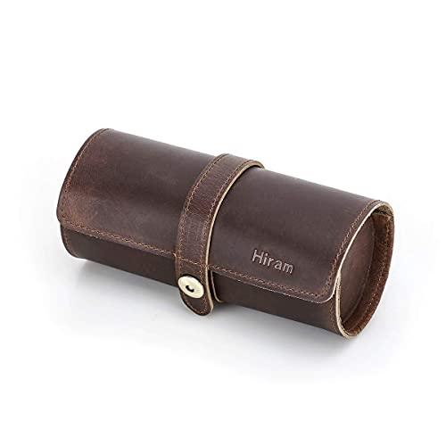 Hiram Portaorologi da viaggio in vera pelle Organizer a rotolo classico, custodia a rotolo per 3 orologi in pelle per orologi e bracciali (CF1117Coffee)