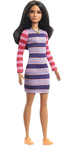 Barbie GHW61 - Barbie Fashionistas Puppe 147 (brünett) mit Streifenkleid