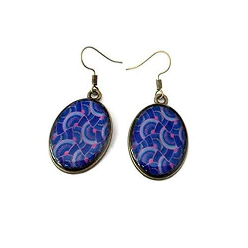 Pendientes de color azul y morado, pendientes con impresión africana, joyería africana