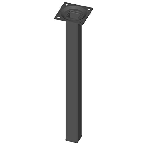 Element System 4 Stück Stahlrohrfüße eckig Tischbeine, Möbelfüße Inklusive Anschraubplatte, 4 Farben, 10 Abmessungen, 30 cm, schwarz, 18133-00299
