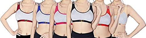 IDS Incredible Fashion Women's Cotton Non-Padded Daily Workout Sports Bra Combo - Pack of 6 (Multicolor, 34)