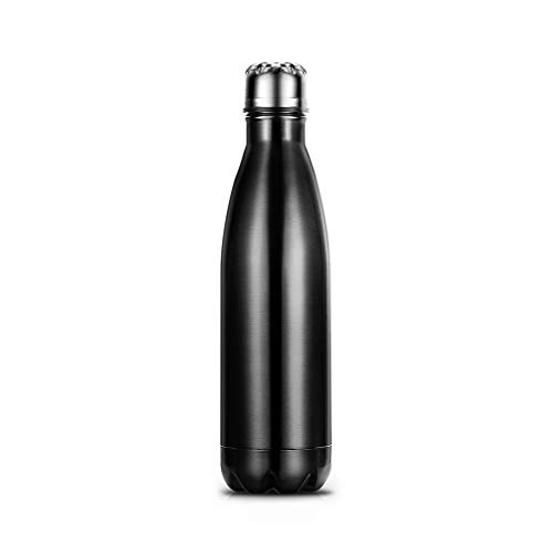 DHDHWL Wasserflasche Kaffee-Tee-Bowling isolierte Edelstahlflasche Vakuumflasche for Office Home Reise Verwenden Trinkflaschen (Color : Black)