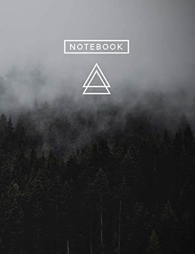 Aesthetic Art Journaling: Light Weight Mountain Hiking Composition Book | 150 Unlined/Drawing Pages | Misty Dark Forest