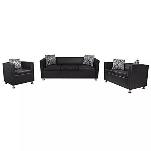 N / A vidaXL Kunstleder Sofa -Set mit Schlaffunktion, 3er Schlafsofa 2er Couch und 1er Sessel, Wohnzimmer Couch, Loungesofa, Kunstlederpolsterung + Holzgestell, für Büro, Wohnzimmer, Schwarz