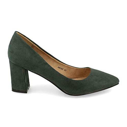 Zapato de Tacon para Mujer, Ancho y de Punta Fina, Estilo Salon, Otono Invierno 2020. Talla 36 Verde