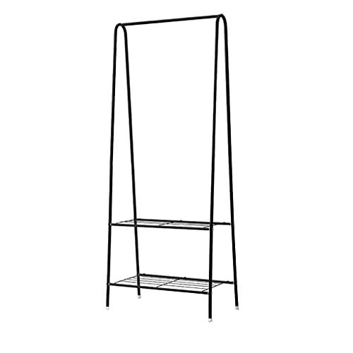 Perchero independiente Rack de abrigo de piso multifuncional, estante de secado vertical de metal negro fácil de montar para el balcón de la sala de la sala del dormitorio de la sala de entrada perche