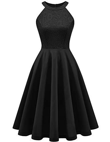 YOYAKER Damen 50er Vintage Rockabilly Kleid Neckholder Cocktailkleid Spitzen Vokuhila Festliche Party Abendkleider für Hochzeit -1Black L
