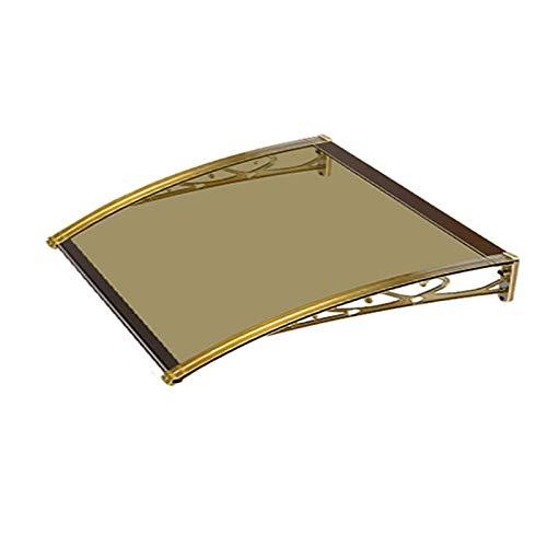 CXF Vordach für Haustür, Türvordach Vordach Fenster Aluminiumlegierung Stark Und Haltbar Entwurf Außensonnenschutz Und Wasserdicht Champagne Bracket Brown Teller (Size : 60x60cm)
