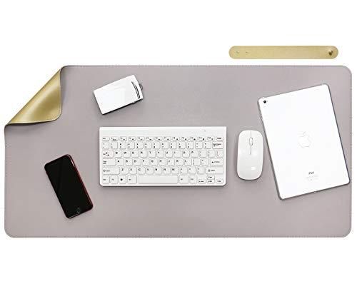 Olrla Alfombrilla de escritorio de doble cara, alfombrilla grande para ratón, alfombrilla de piel sintética de 40 cm x 80 cm resistente al agua, alfombrilla de escritorio, (gris claro/dorado)