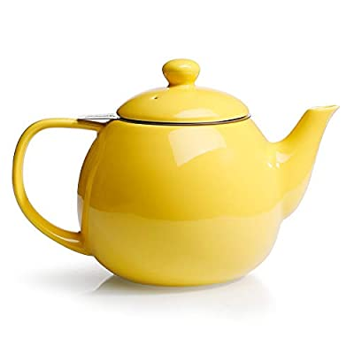Sweese 221.105 Teapot, Porcelain Tea Pot with Stainless Steel Infuser, Blooming & Loose Leaf Teapot - 27 ounce, Yellow