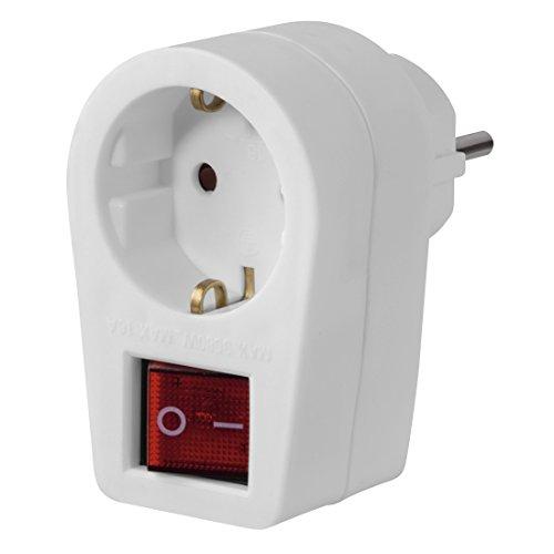 Hama Steckdose mit 2-poligem Schalter Steckdosenadapter schaltbar Stromsparen mit erhöhtem Berührungsschutz 230V 16A weiß