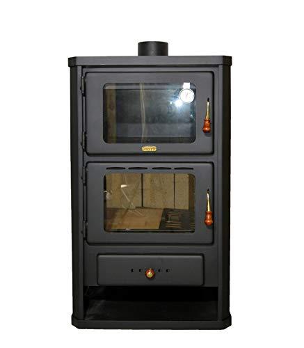 Estufa de leña con horno, estufa de cocina, potencia de calefacción de 14 kW