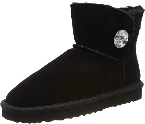 SKUTARI Wildleder Damen Winter Boots   Warm Gefüttert   Schlupf-Stiefel mit Stabile Sohle   Bling Diamant Pailletten Knopf Schuhe (39, Schwarz/5035)
