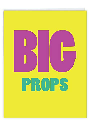 Big Props' Hilarious Congratulations Greeting Card w/ Envelope - Shout Out To The Best Big Props - Congrats Card, Hilarious Stationery 8.5 x 11 Inch J9686
