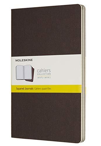 Moleskine Cahier Large, A5, 3er Set, Kariert, Kartoneinband, Kaffeebraun