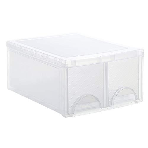 Rotho Frontbox große Schubladenbox mit 2 Schüben, Kunststoff (PP) BPA-frei, transparent, twin (44,0 x 34,0 x 20,0 cm)