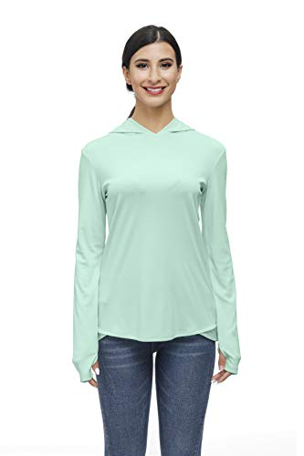 Women Hooded Shirt Pullover Workout Running Shirt Loose Long Sleeve Top for Fitness Gym Dry Fit T Shirt with Thumb Holes Aqua Blue M