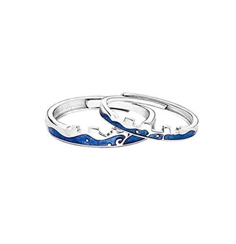 Estilo chino Gran Pared Anillo de Pareja de Plata 925 Azul Allure Amor Anillos Ajustable Para Hombres Mujeres Joyería