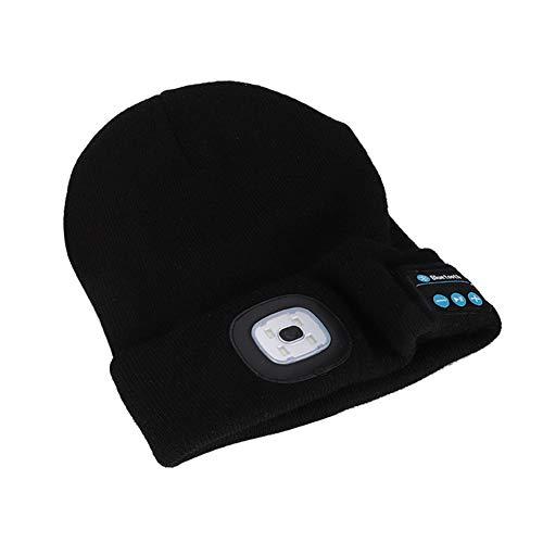 AMONIDA Auriculares inalámbricos Bluetooth Gorra de Lana Tejida Sombrero de música Inteligente al Aire Libre con luz LED para Hombres y Mujeres(Negro)