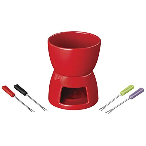 Wilton Ceramic Fondue Set, 12 oz, Red