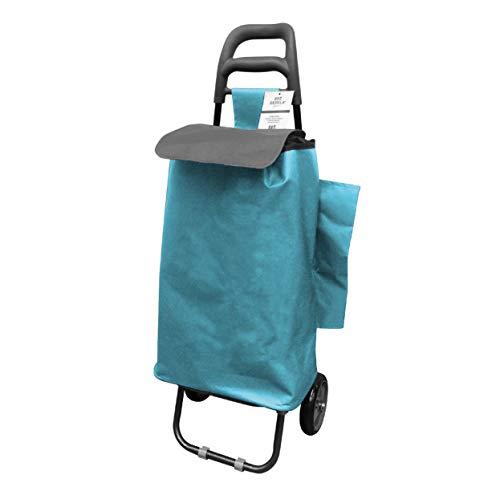 Berela - Rubstripe Carro para Compra con Ruedas de Goma Super Resistentes, Carro Compra Desmontable y Lavable con Amplia Apertura- Turquesa