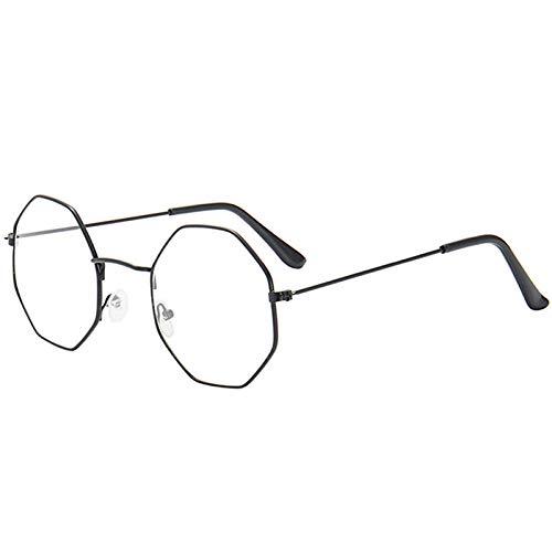 ZYIZEE Gafas de Sol Gafas de Metal con polígono Retro Unisex Gafas de Ojo de luz Azul Anti Vintage monturas de Gafas Transparentes Gafas de Conductor-B