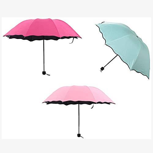 3-Plegable A Prueba Viento Del Paraguas, Viajes 3PCS Paraguas Para Las Mujeres Compacto Las Muchachas Durable, Ligero Paraguas De Protección Solar Compacto Con 8 Costillas De Acero,Folding umbrella