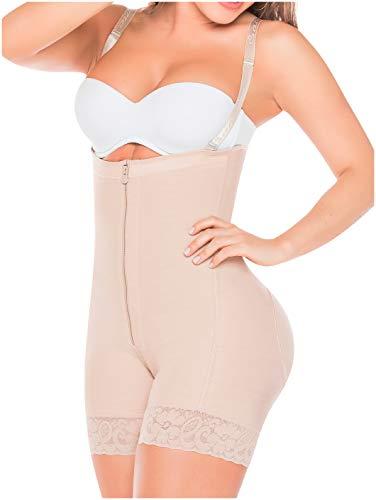 Salome 0215 Fajas Colombianas Reductoras y Moldeadoras Postparto Colombian Body Shaper Girdles Strapless Postpartum Butt Shapewear for Women Beige M