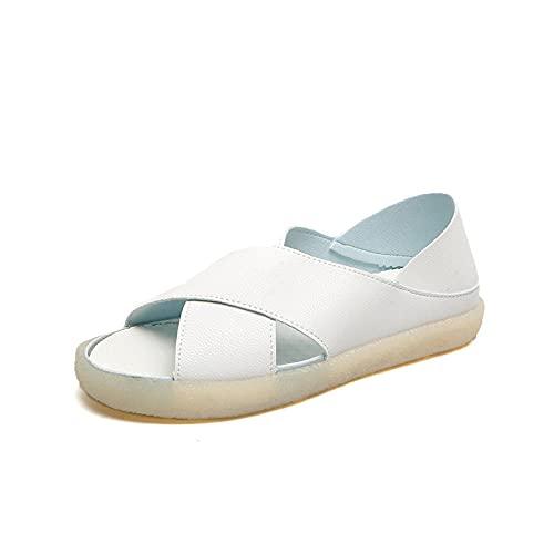CCSSWW Sandalias de Playa al Aire Libre para Vacaciones,Sandalias Femeninas cómicas Casuales-Blanco_39,Suela De Espuma Suave Zapatos