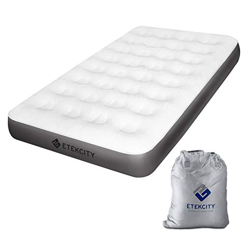 Etekcity Camping Air Mattress, Inflatable Mattress Air Bed Twin with Coil Beam Technology, Height 9', Carry Bag, White, No Pump Included