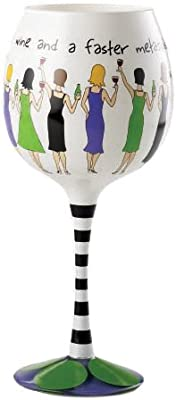 Mud Pie Faster Metabolism Hand Painted Wine Glass